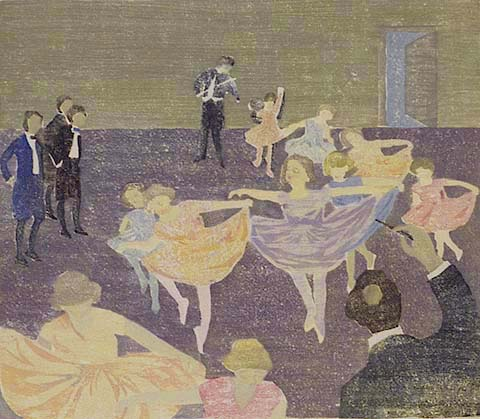 The Dance Recital - MAUD AINSLIE - woodcut printed in colors