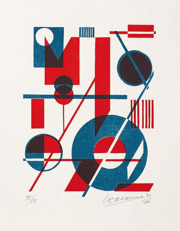 Composition with Blue and Red - WOBBE ALKEMA - linocut