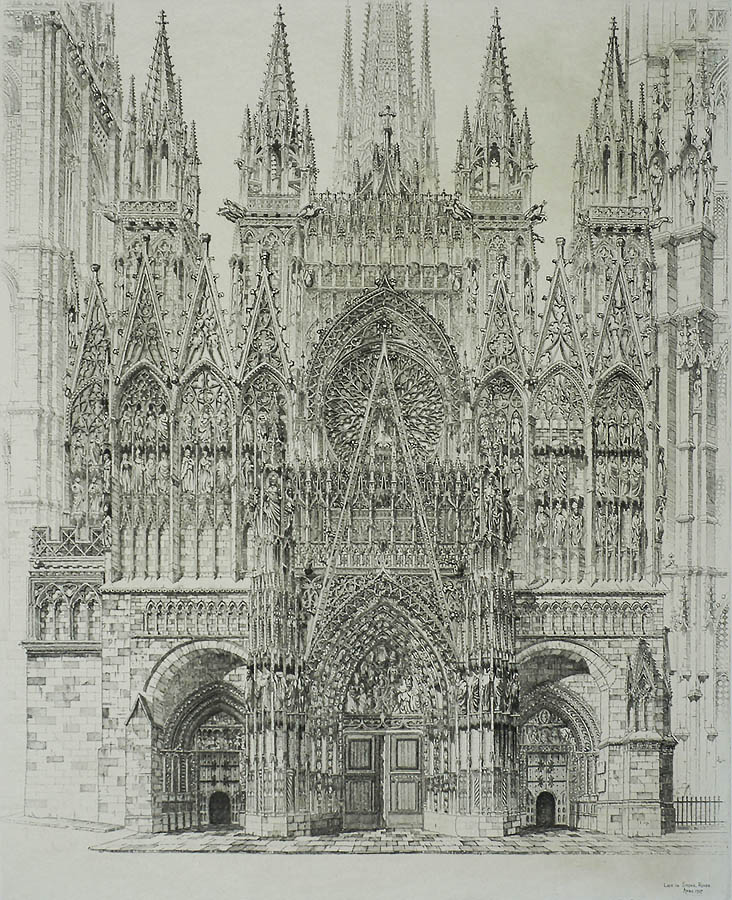 Lace in Stone, Rouen Cathedral - JOHN TAYLOR ARMS - etching