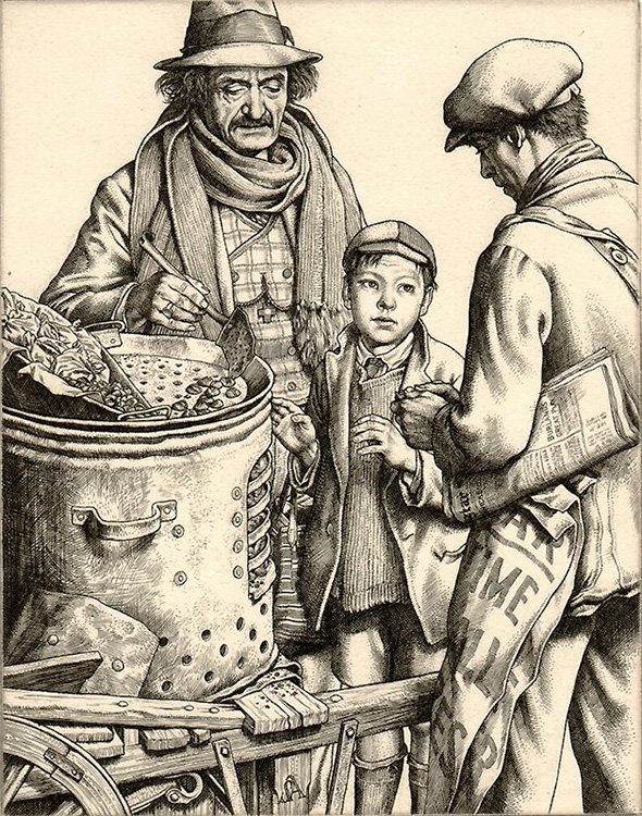 Hot Chestnuts - STANLEY ANDERSON - engraving