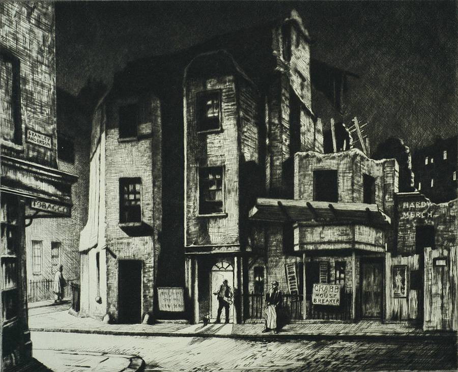 A Mayfair Backwater - STANLEY ANDERSON - drypoint