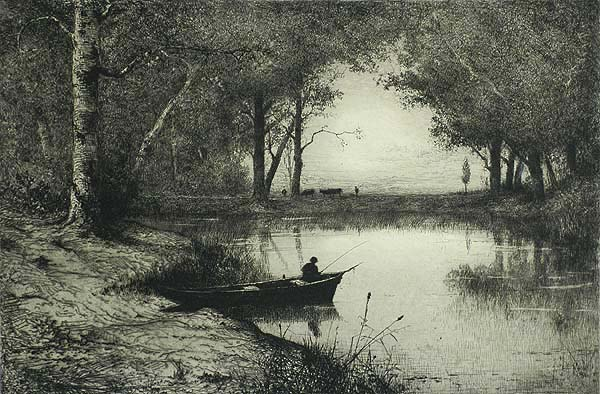 Pêcheur en Canot, Au Bord d'une Rivière (Fisherman in a Dinghy, at the Edge of a River) - ADOLPHE APPIAN - etching