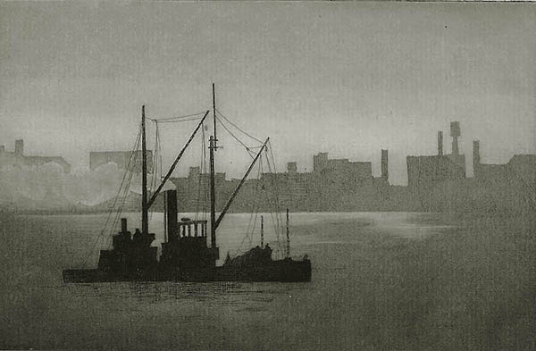 Evening, East River, New York - JOHN TAYLOR ARMS - etching and aquatint