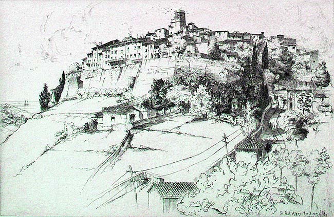 St. Paul, Alps-Maritimes (France) - JOHN TAYLOR ARMS - etching