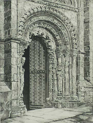 Study in Stone, Cathedral of Orense - JOHN TAYLOR ARMS - etching