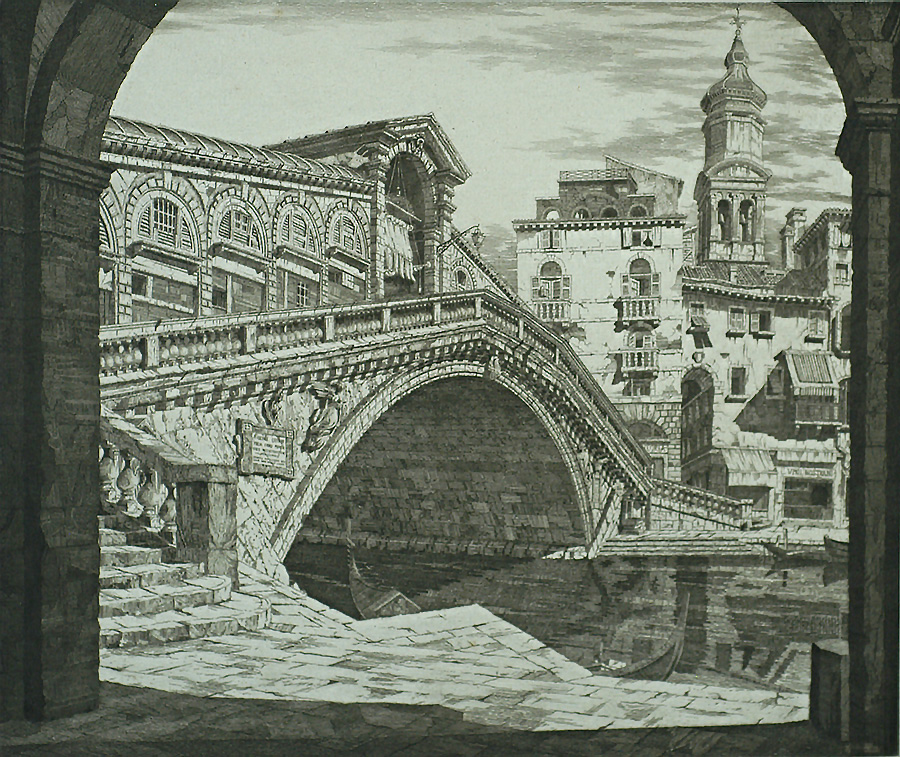 Shadows of Venice - JOHN TAYLOR ARMS - etching with aquatint