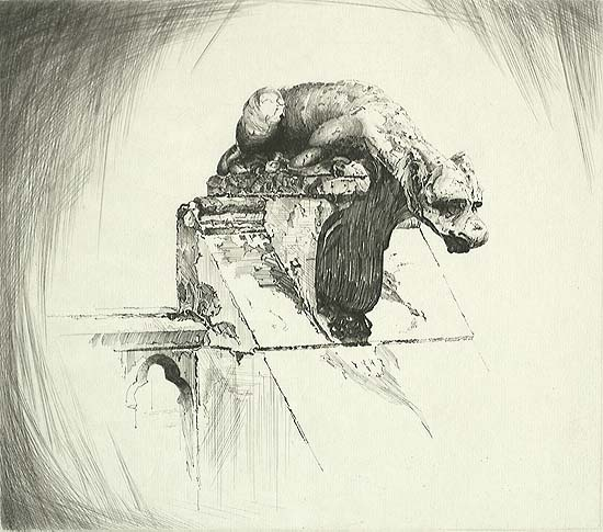 Through Wind and Weather (Notre Dame Gargoyle) - JOHN TAYLOR ARMS - etching