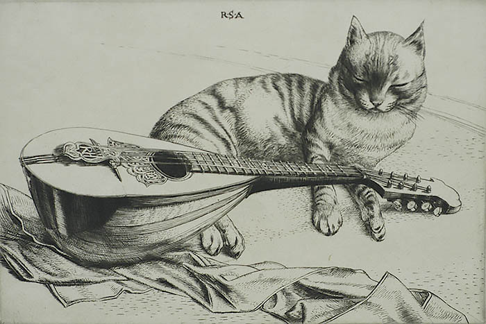 Cat and Mandolin - ROBERT S. AUSTIN - engraving