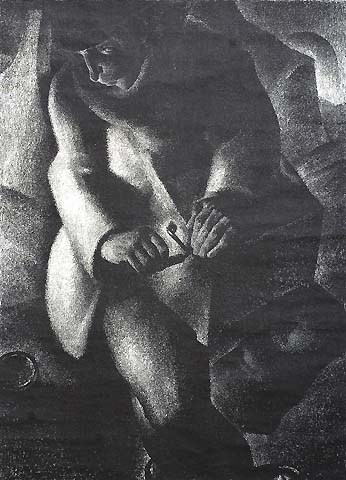 Seated Figure in the Shadows -  ANTO-CARTE (ANTOINE CARTE) - lithograph