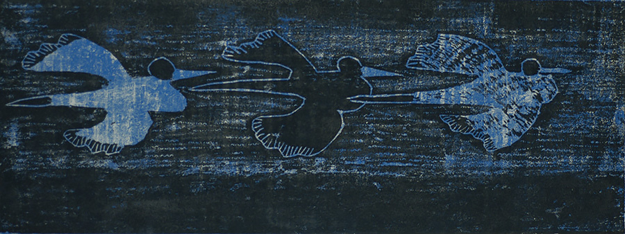 Three Birds - MILTON AVERY - woodcut printed in blue and black