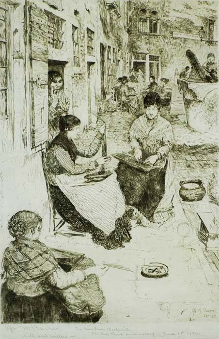 Bead Stringers (Perleria), Venice - OTTO H. BACHER - etching
