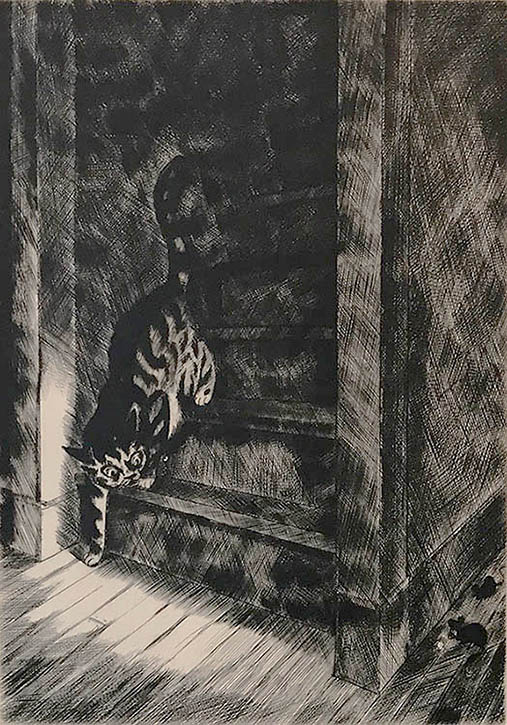 Haunted House - PEGGY BACON - drypoint