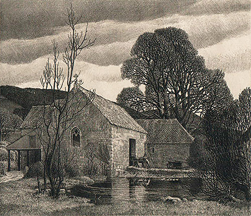 Priory Pond - STANLEY ROY BADMIN - etching