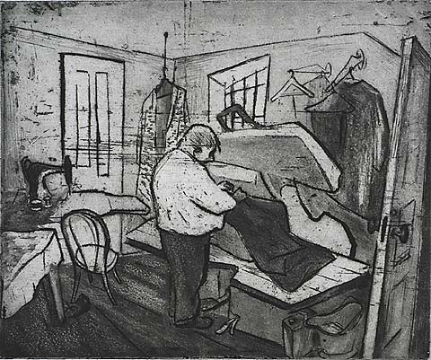 The Tailor - WILL BARNET - etching and aquatint