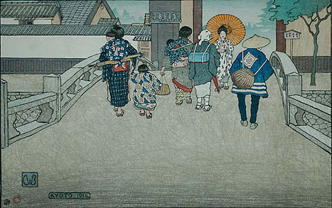 Kyoto ('The Bridge') - CHARLES W. BARTLETT - woodcut