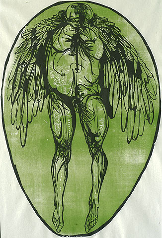 Icarus - LEONARD BASKIN - woodcut printed in black and green