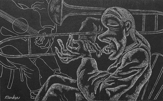 Trombone Player - FRED G. BECKER - wood engraving