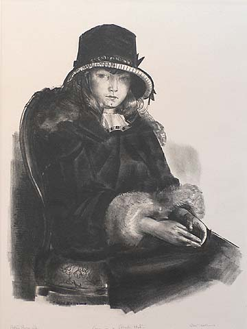 Anne in a Black Hat - GEORGE BELLOWS - lithograph