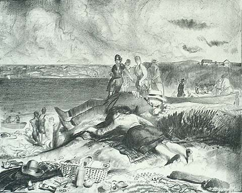 Legs of the Sea - GEORGE BELLOWS - lithograph on thin China paper