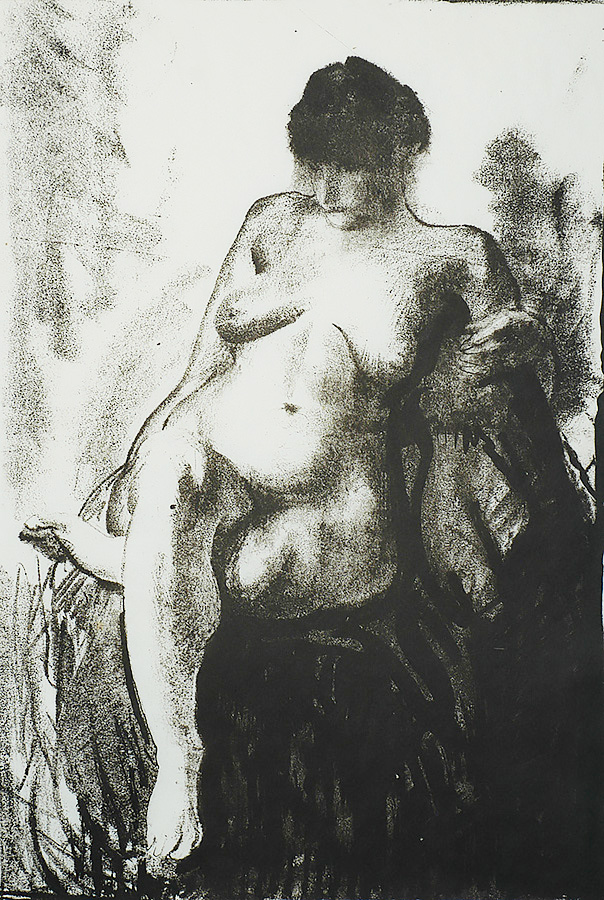 Nude Woman Seated (first state) - GEORGE BELLOWS - lithograph