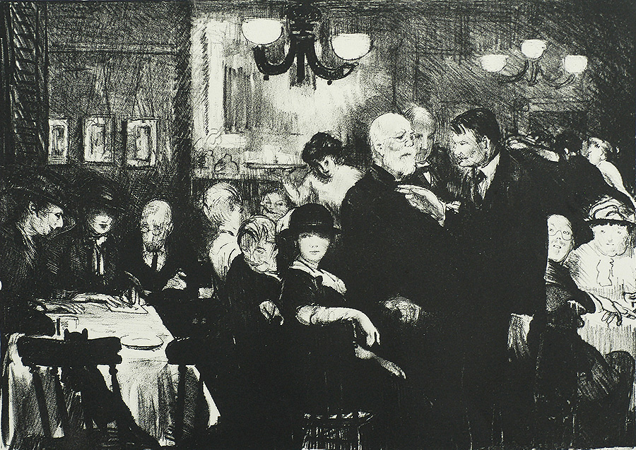 Artists' Evening (At Petipas') - GEORGE BELLOWS - lithograph