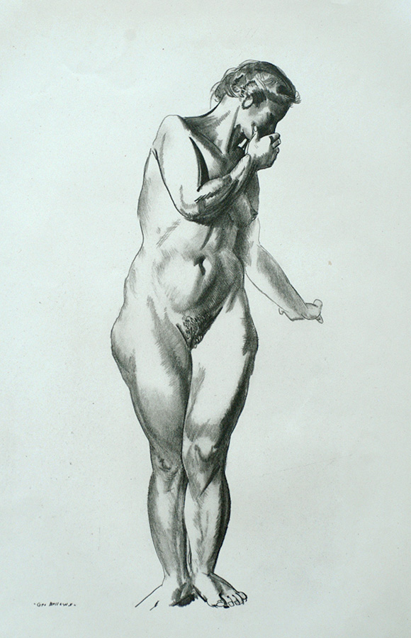 Nude Study, Girl Standing with Hand Raised to Mouth - GEORGE BELLOWS - lithograph