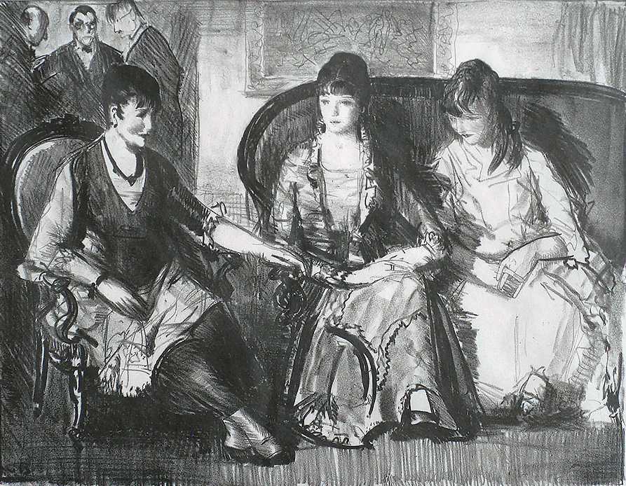 Elsie, Emma and Marjorie, First Stone - GEORGE BELLOWS - lithograph