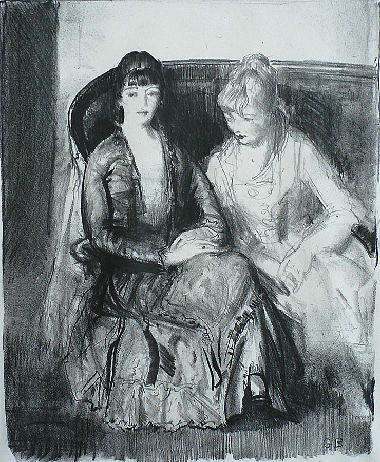 Emma and Marjorie on a Sofa - GEORGE BELLOWS - lithograph