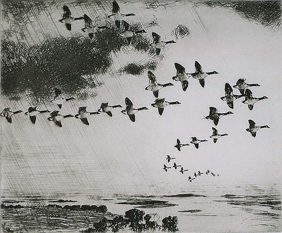 The Long Journey - FRANK BENSON - etching