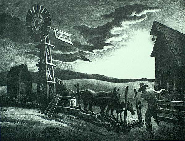 Arkansas Evening (Nebraska Evening) - THOMAS HART BENTON - lithograph