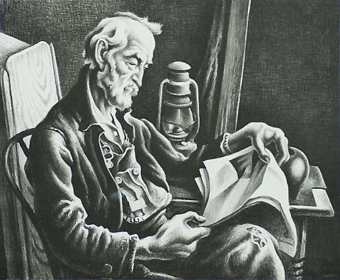 Old Man Reading - THOMAS HART BENTON - lithograph