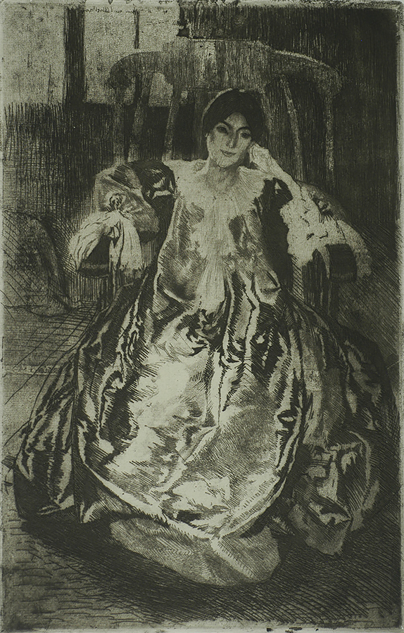 The Silk Dress (La Robe de Soie) - ALBERT BESNARD - etching, drypoint, aquatint and roulette