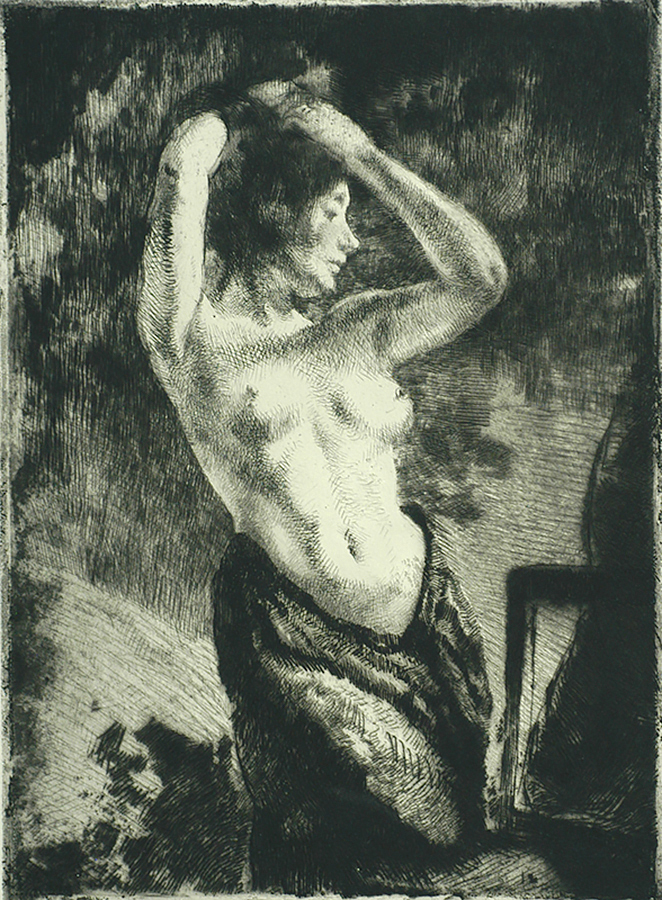 Model with Bare arms Raised (Le Modèle nu les Bras Levés) - ALBERT BESNARD - etching with traces of drypoint