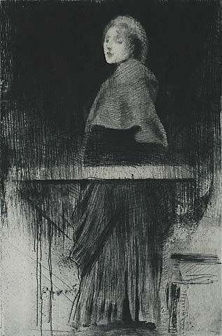 La Femme a la Pelerine - ALBERT BESNARD - etching, drypoint and traces of roulette work