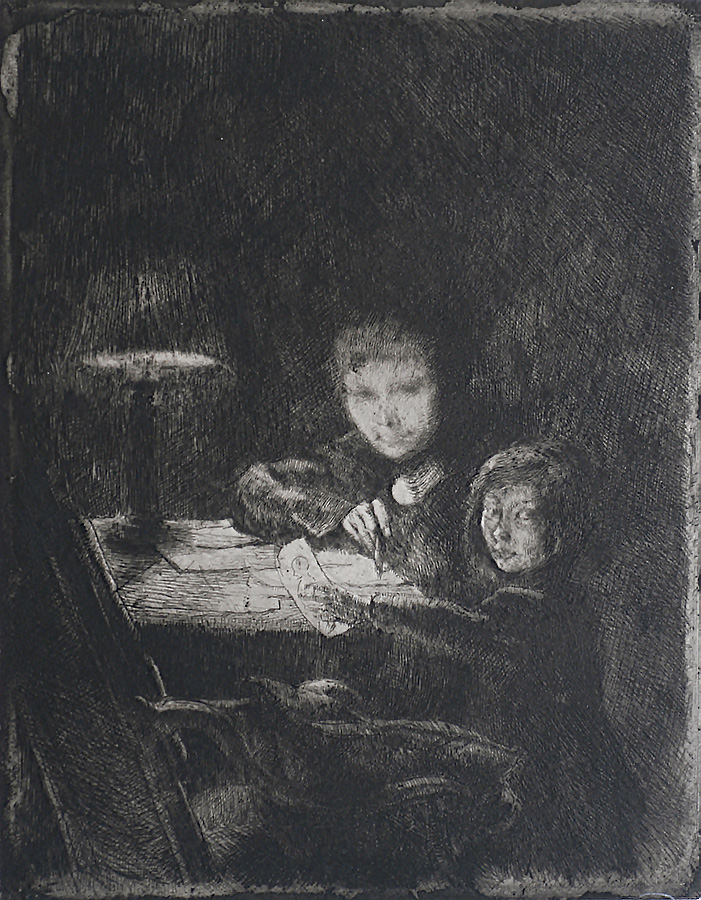 Sous La Lampe (By Lamplight) - ALBERT BESNARD - etching