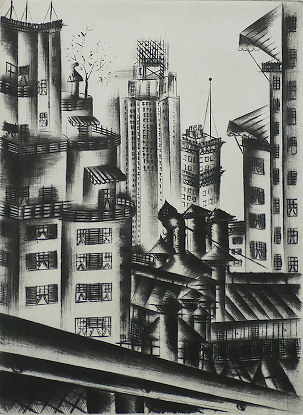 New York Rooftops - JOLAN GROSS-BETTELHEIM - drypoint