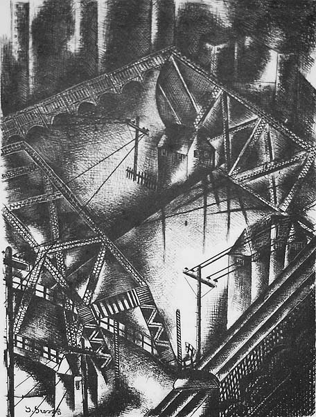 Under the High Level Bridge (Cleveland) - JOLAN GROSS-BETTELHEIM - lithograph