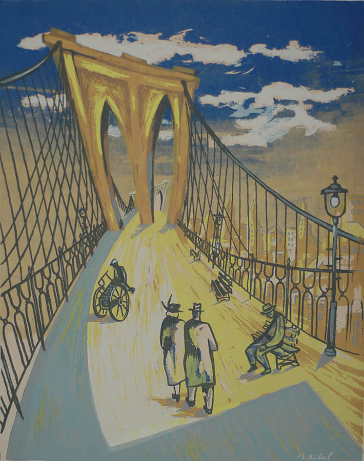 Brooklyn Bridge - LEON BIBEL - screenprint