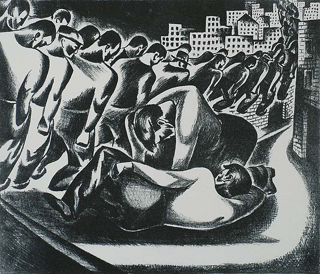 Unemployed Marchers - LEON BIBEL - lithograph printed in black and gray