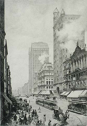 State Street, Chicago - W. H. W. BICKNELL - etching