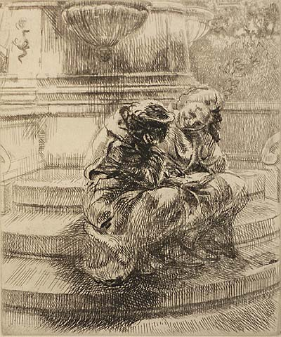 Girls Sitting on Union Square Fountain - ISABEL BISHOP - Etching