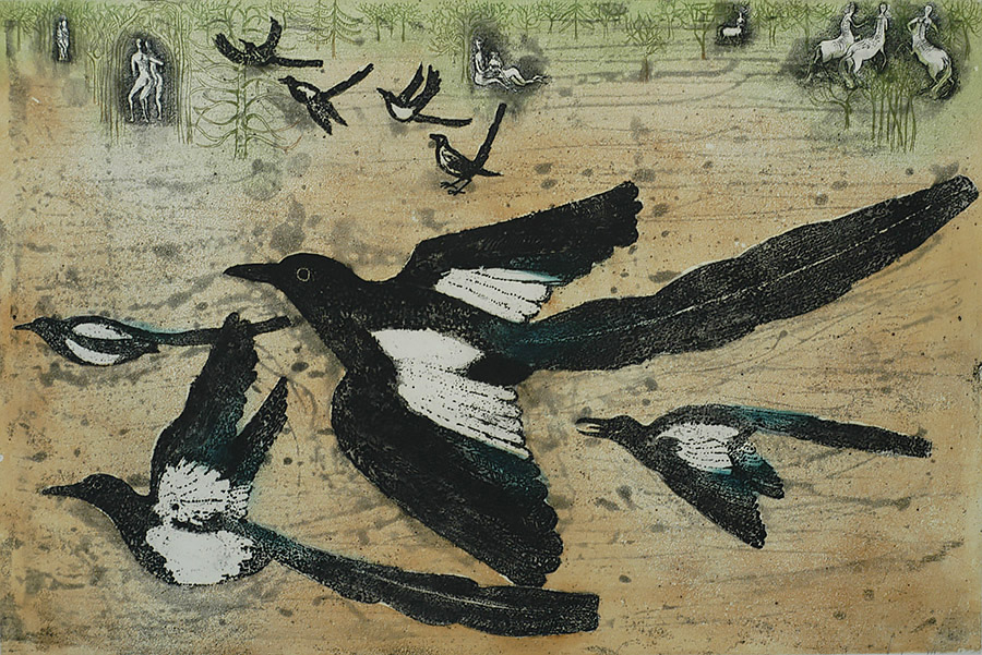 Magpie Park - LARS BO - etching with aquatint printed in colors