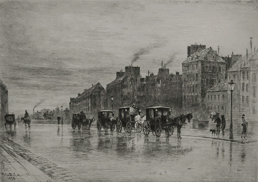 The Cabstand (Une Matinée d'Hiver au Quai de l'Hôtel-Dieu) - FELIX BUHOT - etching, drypoint and traces of aquatint and roulette