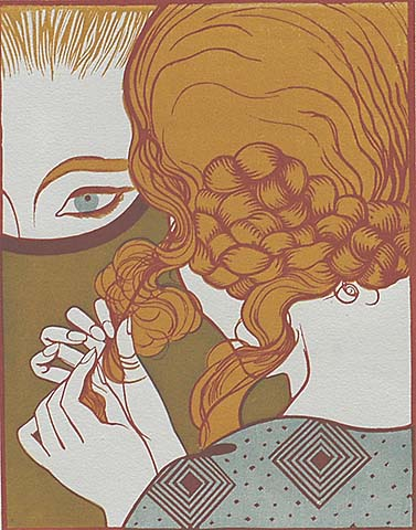 La Toilette - EMILE BOIZOT - woodcut printed in colors