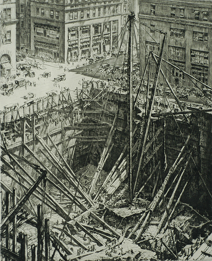 Manhattan Excavation - MUIRHEAD BONE - drypoint