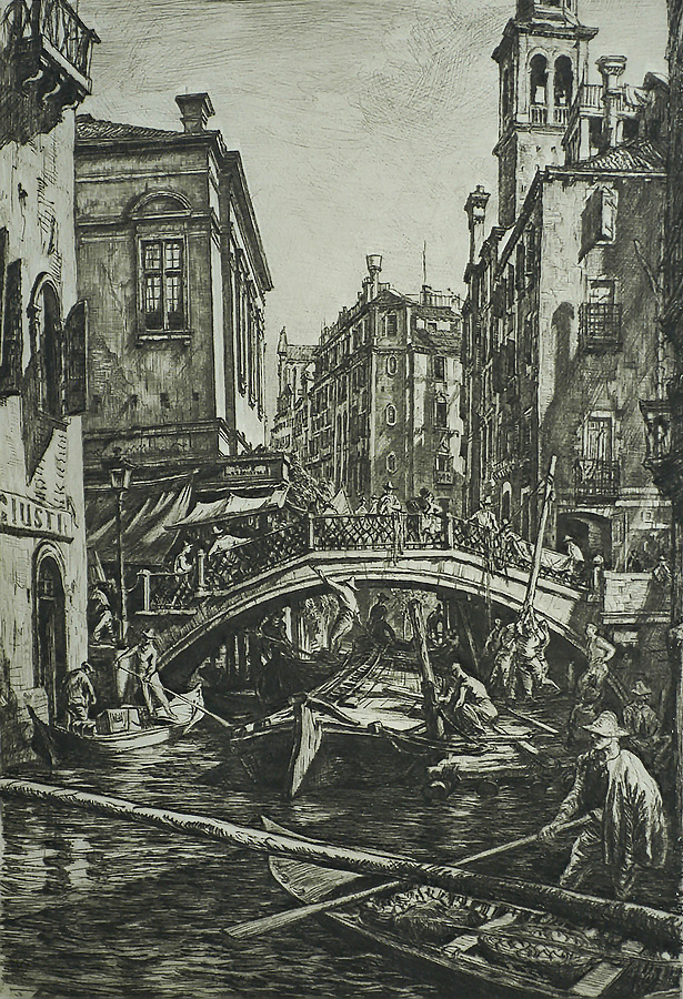 Canal and Bridge of S.S. Apostoli, Venice - MUIRHEAD BONE - drypoint