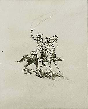 Ready to Rope - EDWARD BOREIN - drypoint