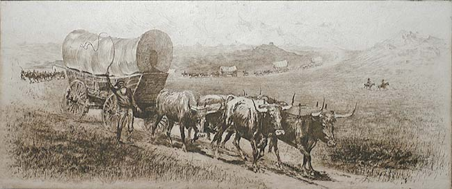 Emigrant Train - EDWARD BOREIN - etching