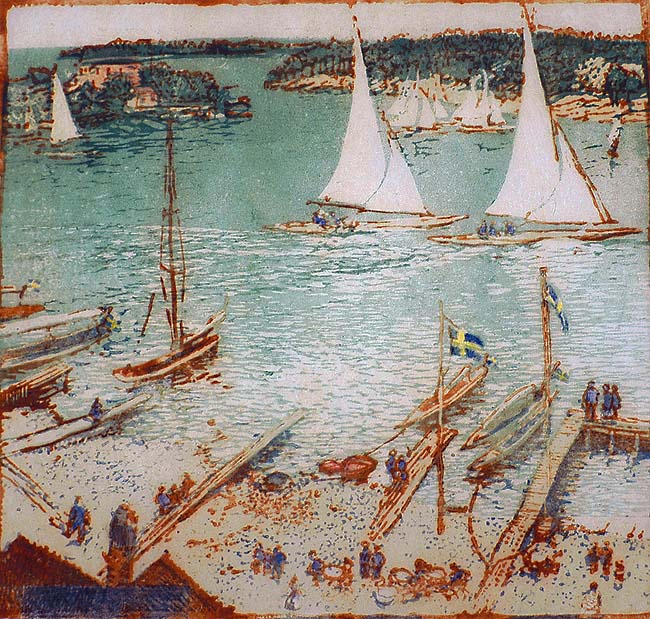 Sandhamn (Sweden) - EMMA BORMANN - woodcut printed in colors