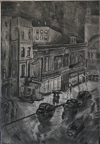 Rainy Night (New York) - MORTIMER BORNE - drypoint